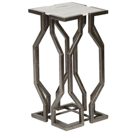 Pictured is the Devonshire Accent Table which features a Granite table top and an iron frame with your choice of Antique Brass or Antique Pewter finish options by Prima that measures 12.25-in x 12.25-in x 24-in