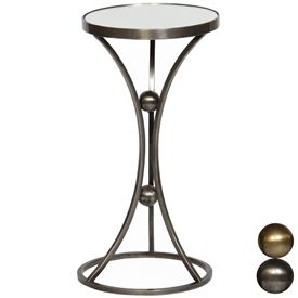Pictured is the Allington Accent Table which features a Mirrored Glass table top and a Metal frame with your choice of Antique Brass or Pewter finish options by Prima that measures 13-in x 13-in x 15-in