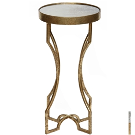 Pictured is the Langford Accent Table which features a Mirrored Glass table top and a Metal frame with your choice of Gold Leaf or Silver Leaf finish options by Prima that measures 12-in x 12-in x 24-in