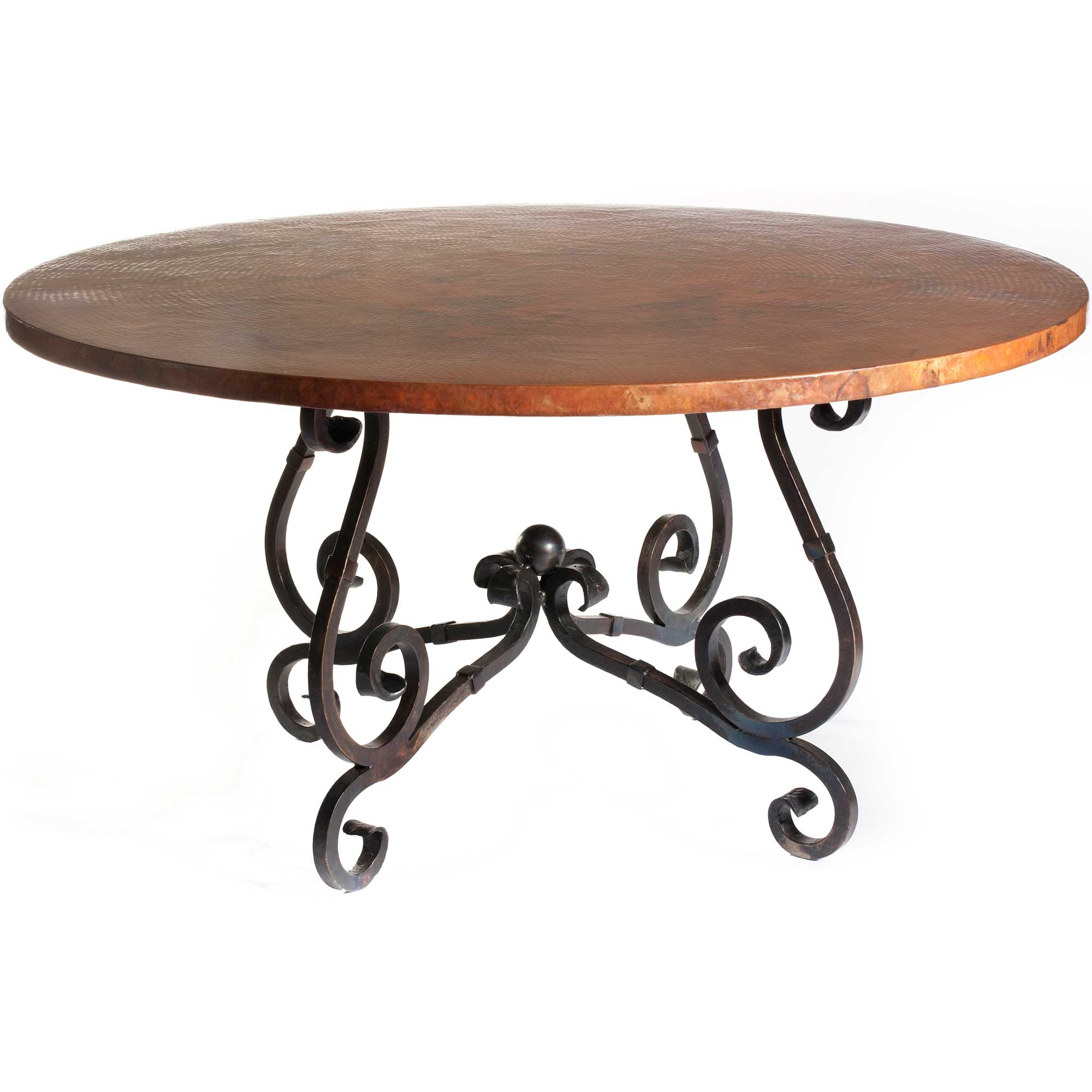 French Iron Dining Table With 54 In Round Hammered Copper Top