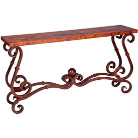 Pictured here is the French Console Table with Wrought iron base and Hammered Copper Table Top