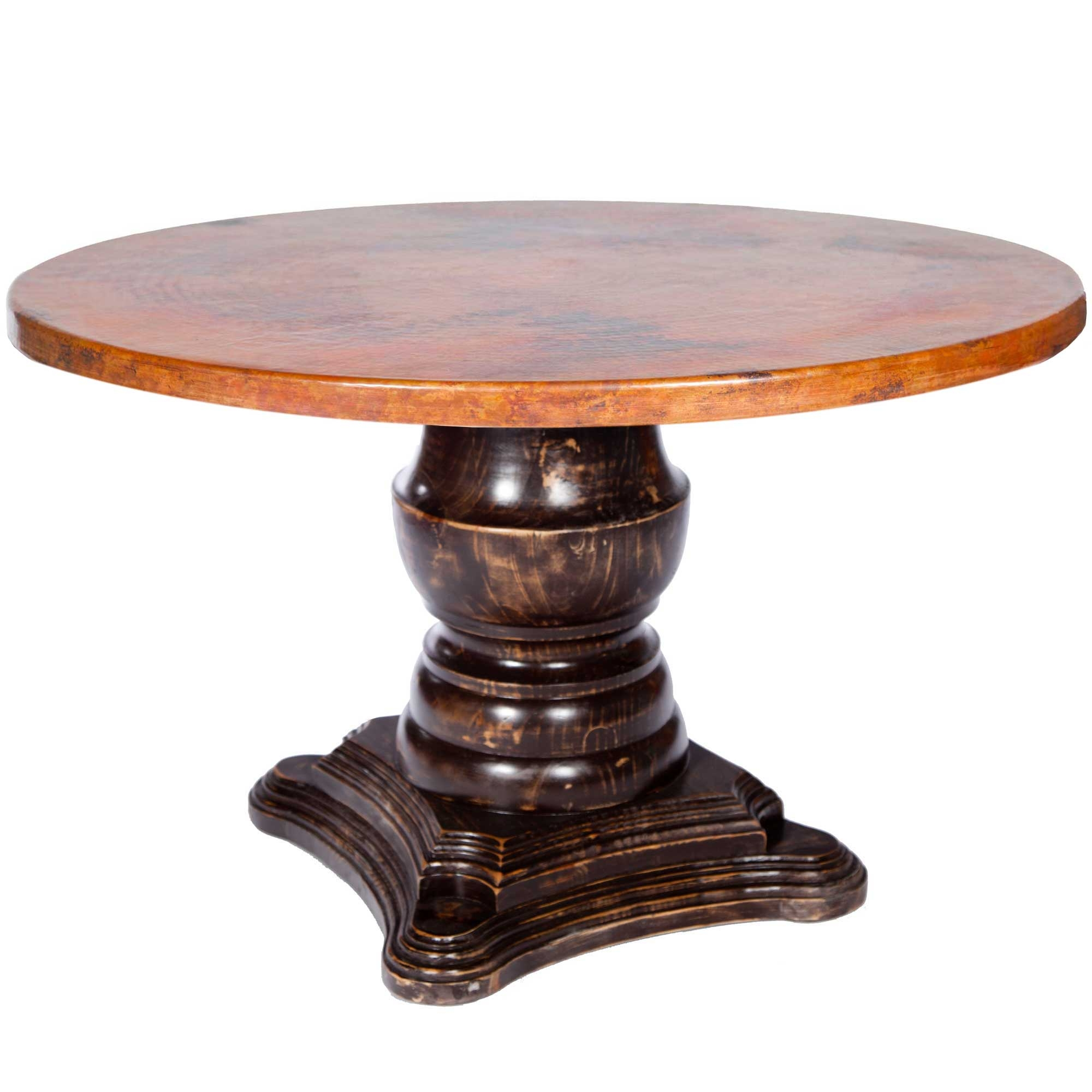 fredrick wood base dining table with 48 round hammered copper top