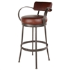 Pictured here is the Cedarvale Bar Stool with plush seat, backrest and generous arm rests.  Available in several iron finish and upholstery options.