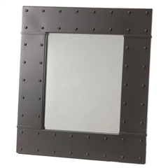 Pictured here is the wrought iron Merrimack Rivet Wall Mirror with a black finish