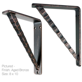 Pictured here are our 1.5inch wide Torch Shelf Brackets available in 6 sizes and 4 custom finishes.