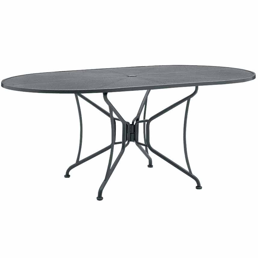72 Mesh Top Oval Dining Table With Umbrella Hole By Woodard Outdoor