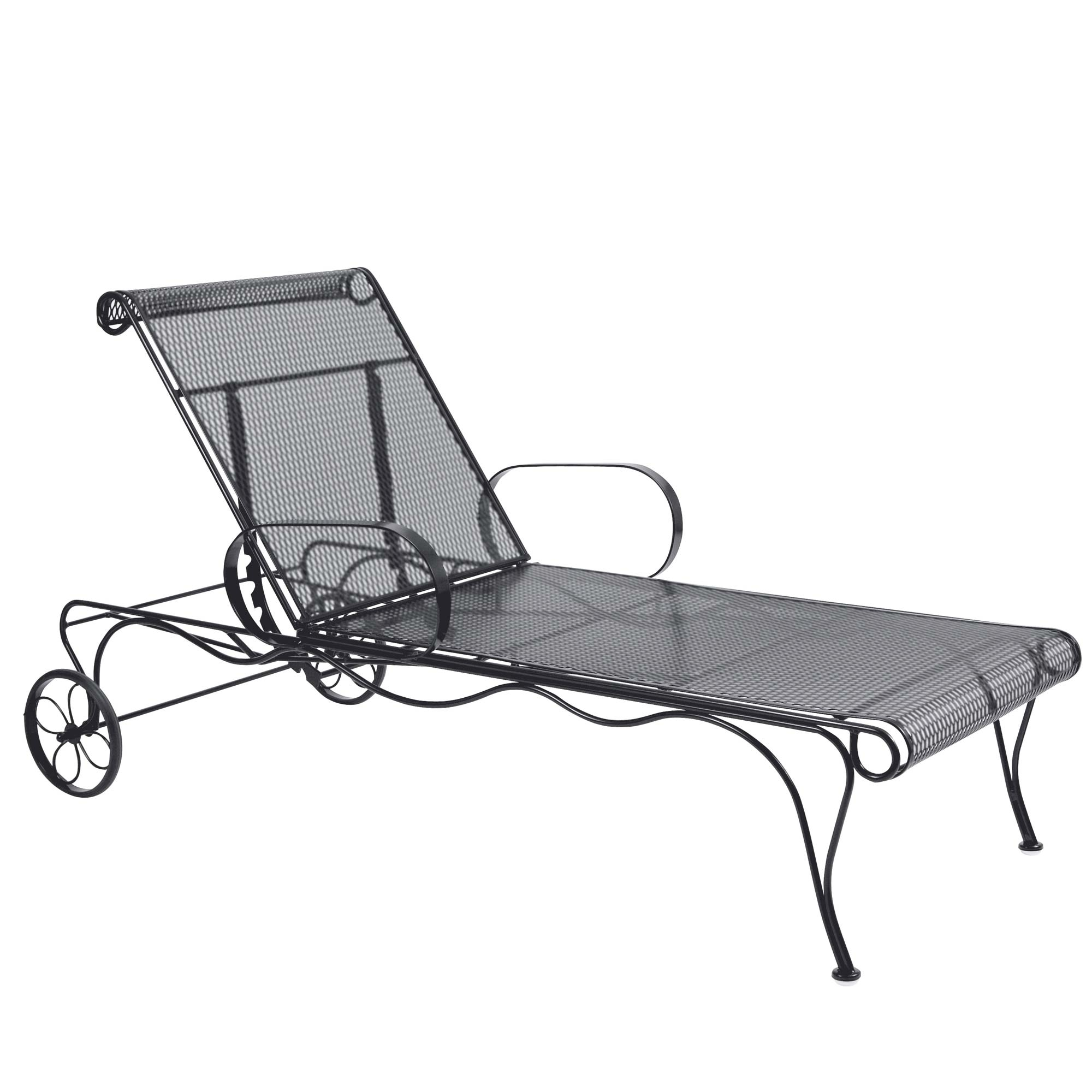 Pictured is the tucson adjustable chaise lounge from for Black wrought iron chaise lounge