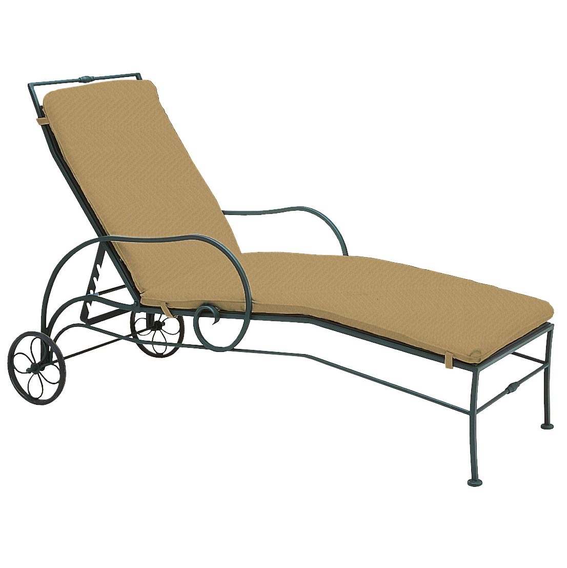 Pictured is the sheffield adjustable chaise lounge from for Black wrought iron chaise lounge