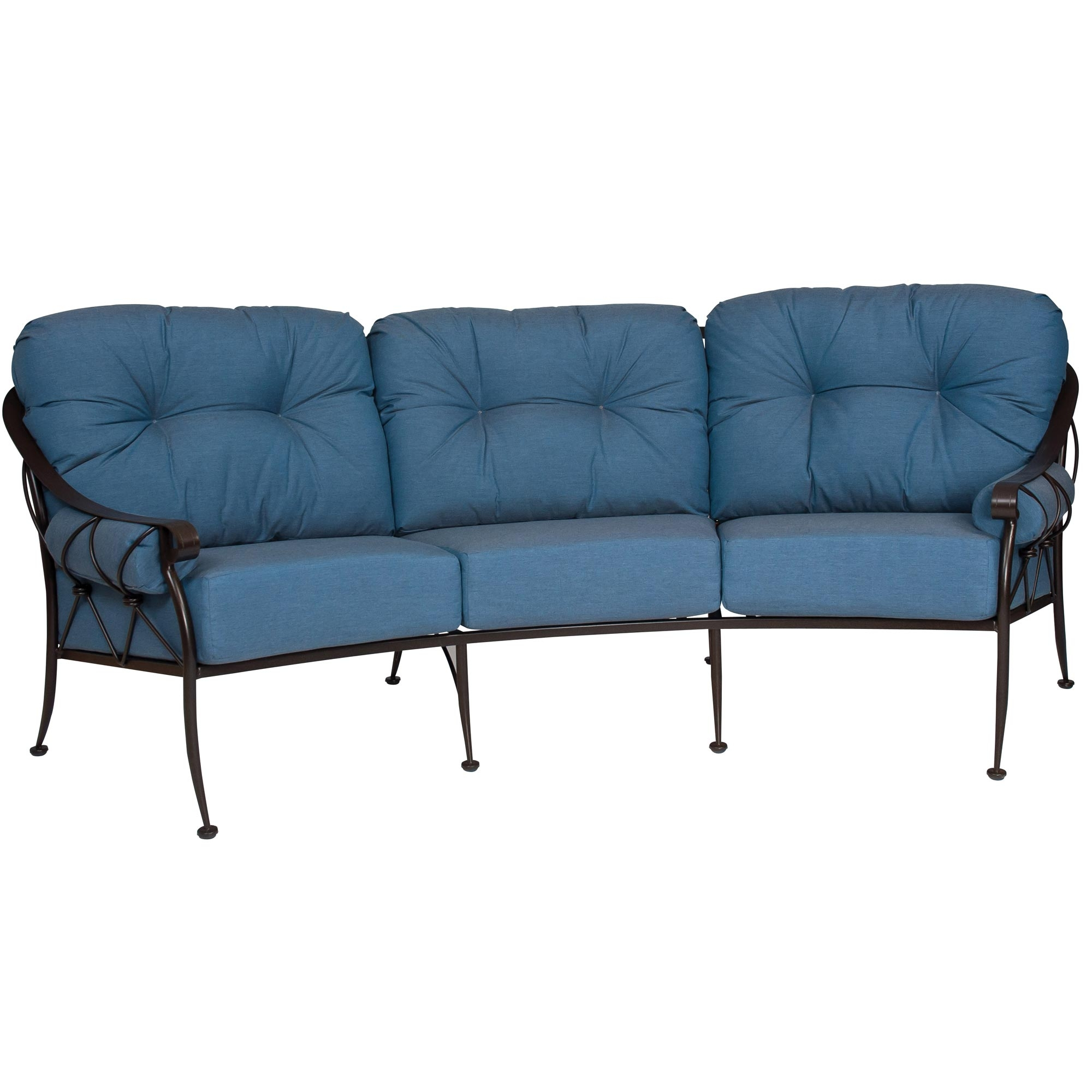 Pictured is the Derby Crescent Sofa from Woodard Outdoor