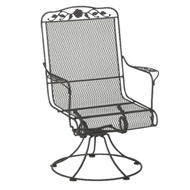 Pictured is the Windflower Mesh High Back Swivel Rocker from Woodard Outdoor Furniture, sold by Timeless Wrought Iron.