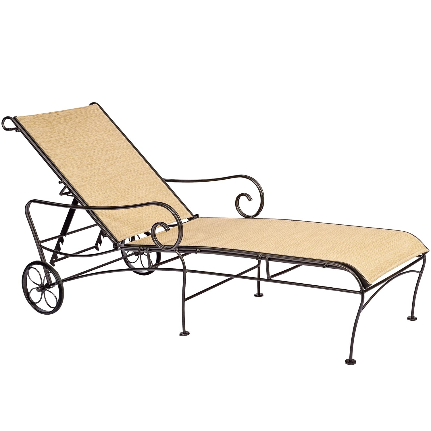 Pictured is the terrace sling adjustable chaise lounge for Black wrought iron chaise lounge