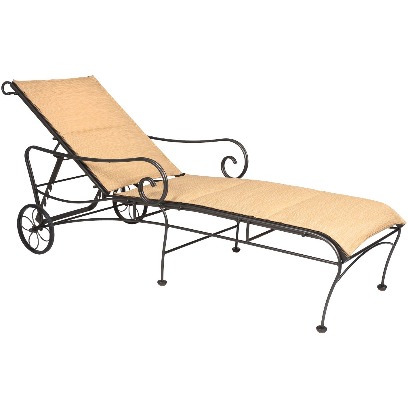 Buy the terrace padded sling adjustable chaise lounge for for Black wrought iron chaise lounge