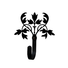 Wrought Iron Floral Wall Hook Small