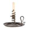 Courting Candle Holder with drip pan and wood screw. Pictured in our natural black finish.