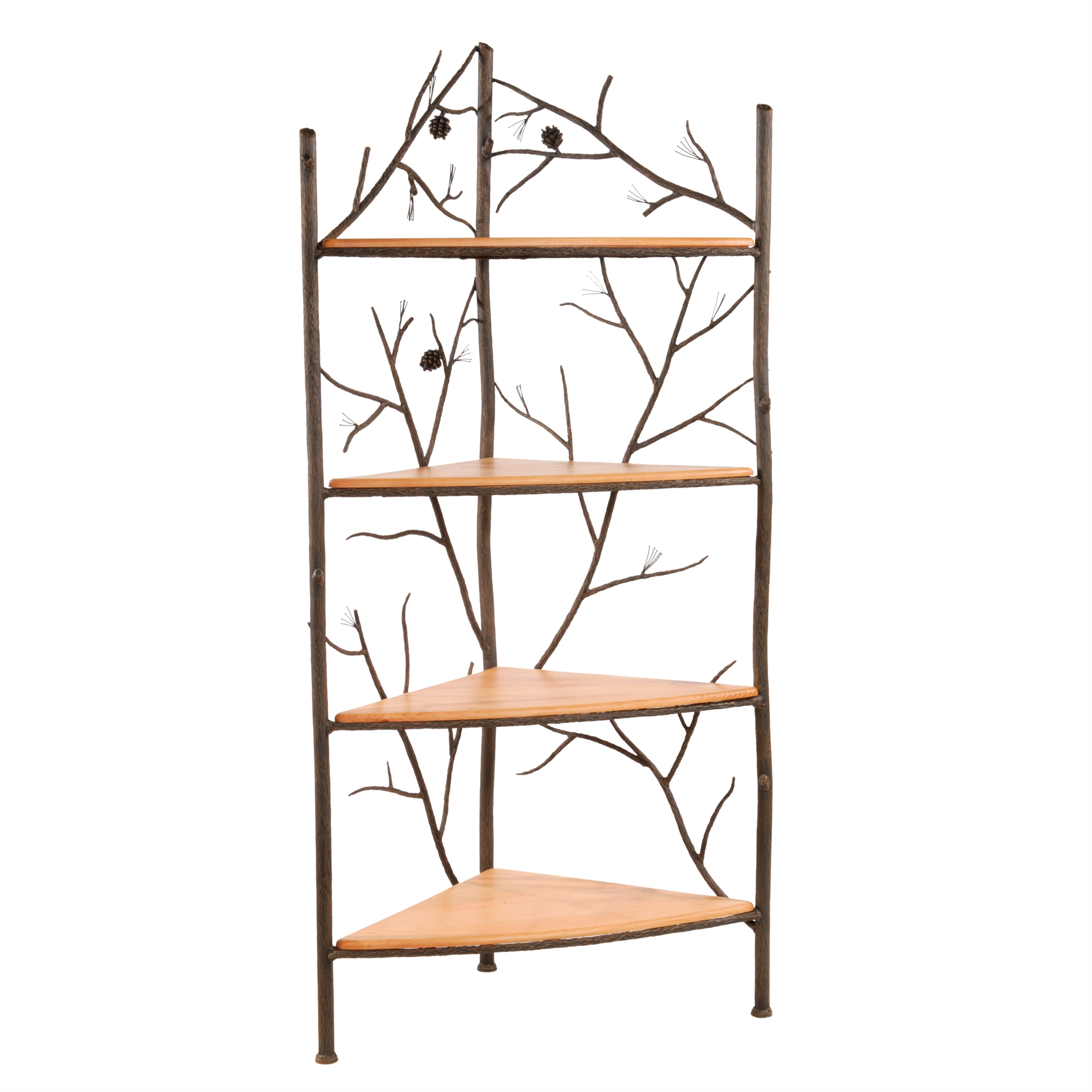 Wrought Iron Rustic Pine Corner Bakers Rack By Stone