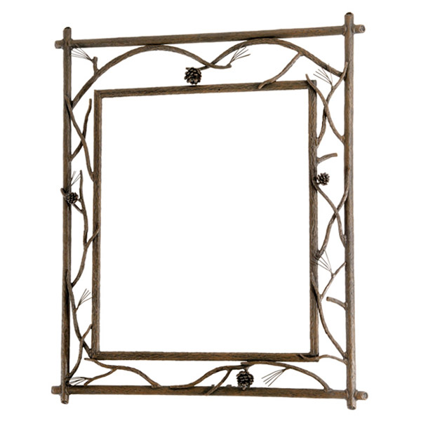 Rustic pine branched wall mirror for Wrought iron mirror