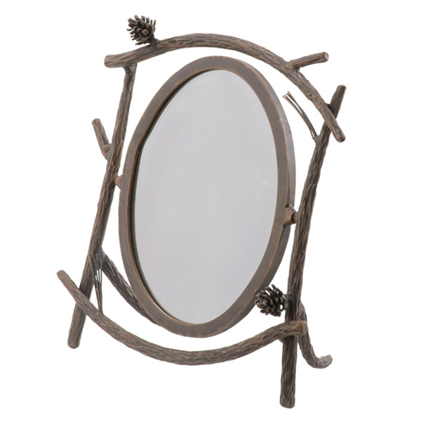 Rustic pine table mirror for Wrought iron mirror
