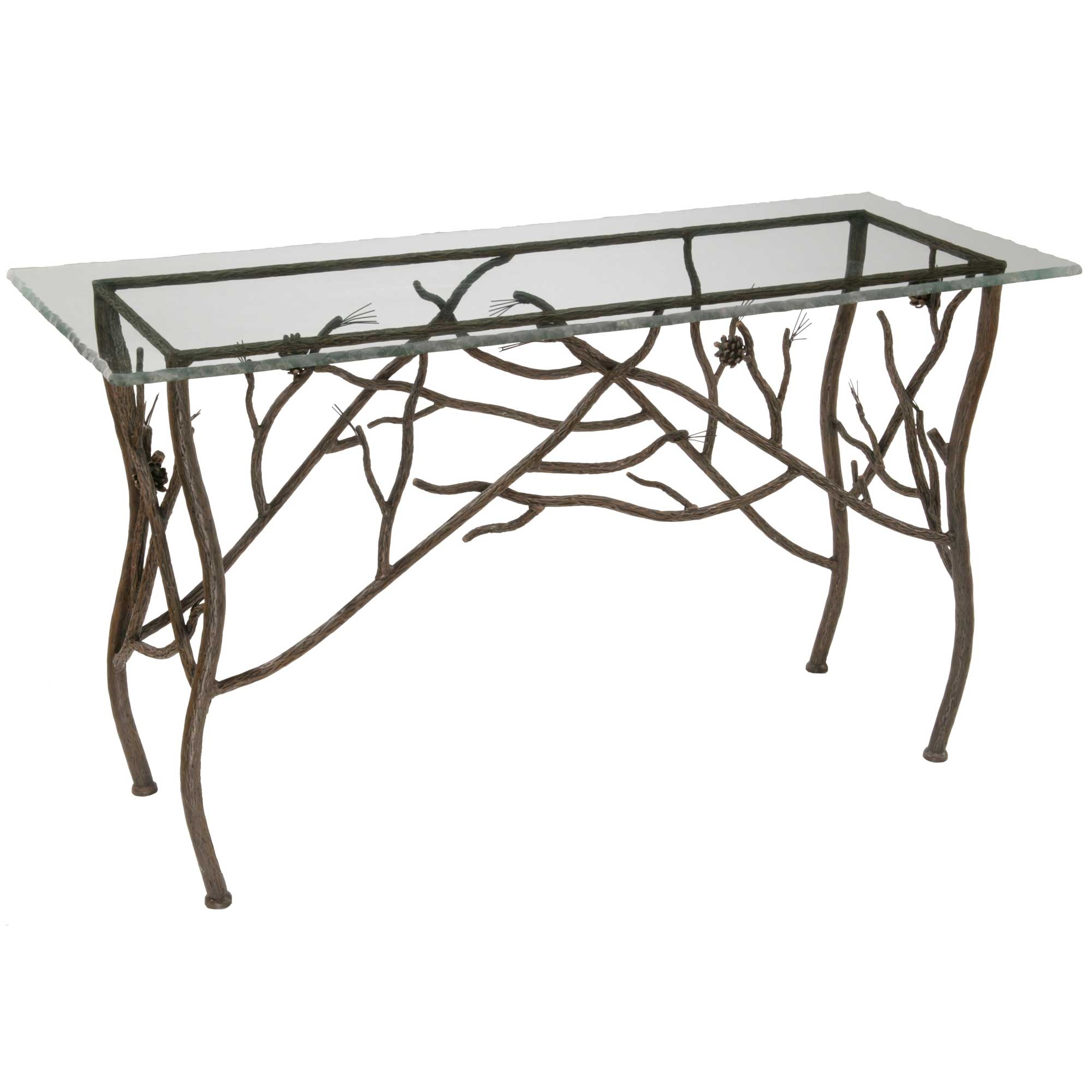 Rustic pine console table Metal console table