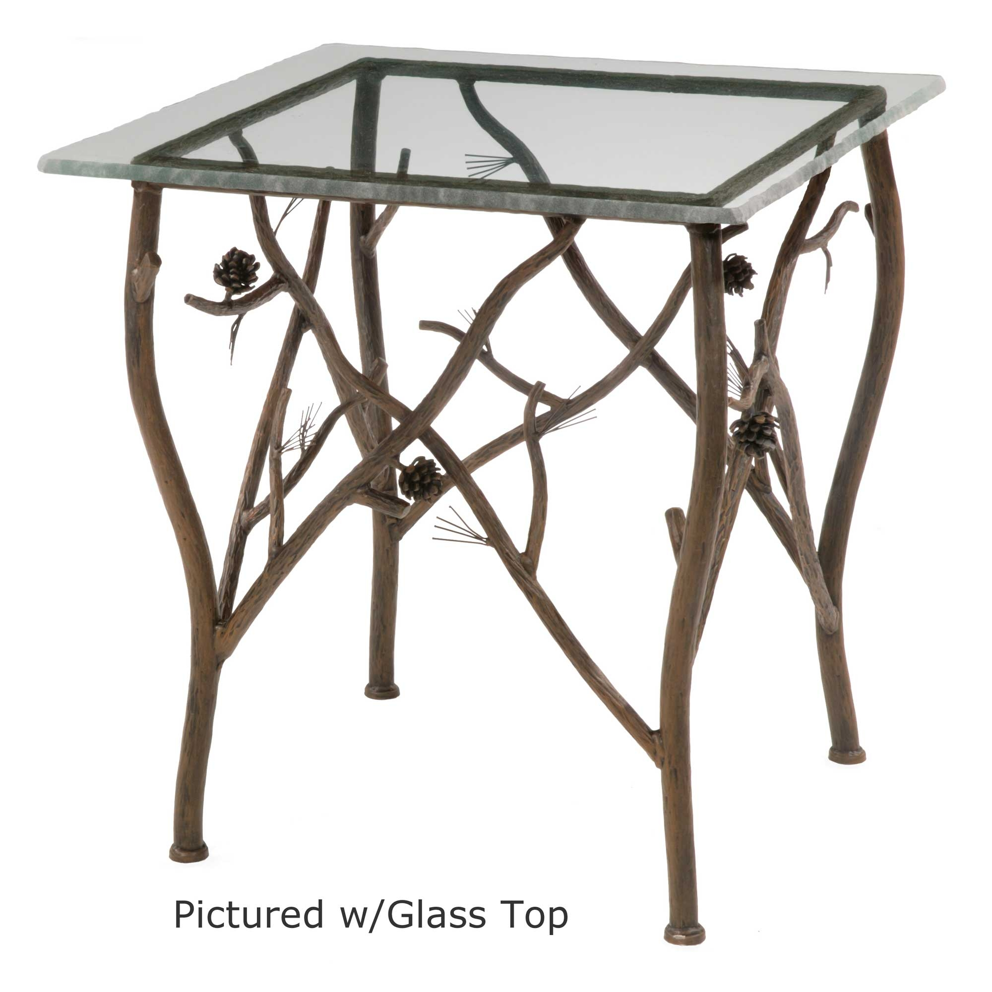 Rustic pine side table for Wrought iron side table