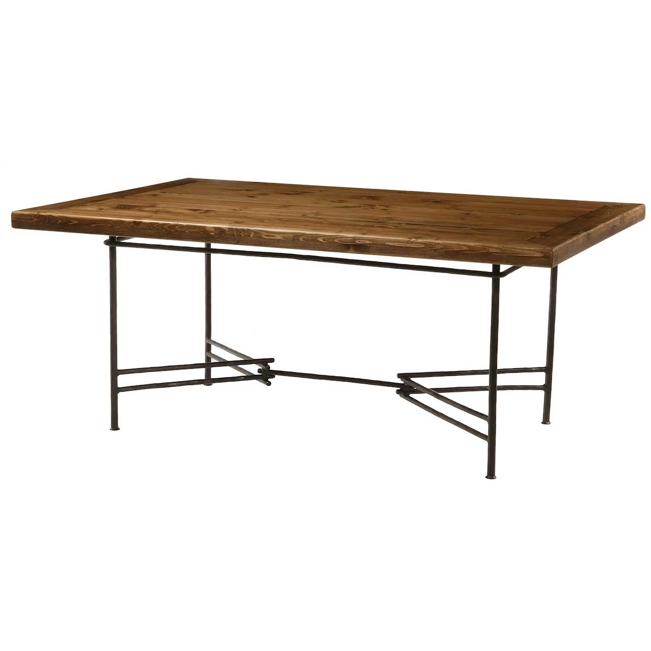 Dining table wood dining table wrought iron base for On the dining table