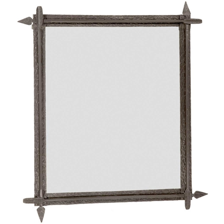 Wrought iron quapaw wall mirror by stone county ironworks for Wrought iron mirror