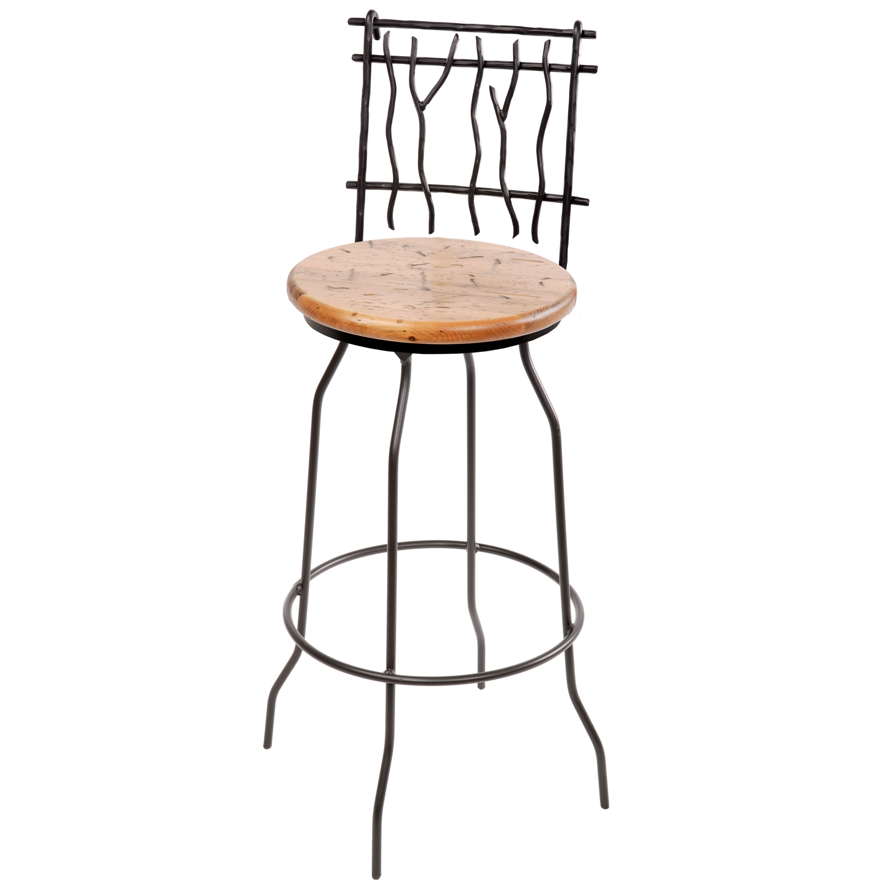 Rustic wrought iron sassafras counter stool in seat