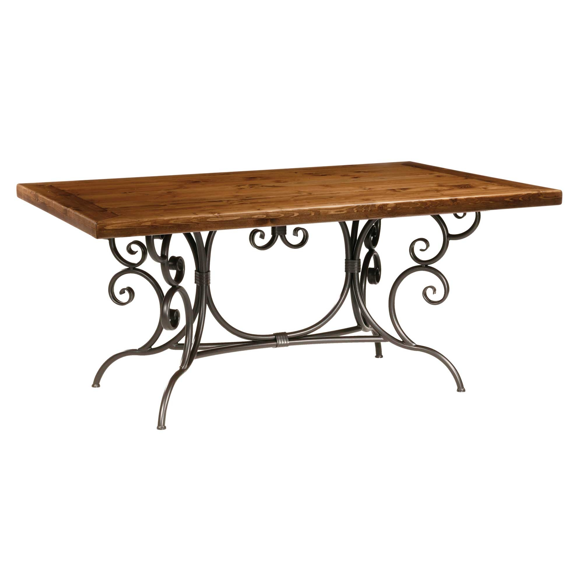 Dining table wood dining table wrought iron base for Dining table base
