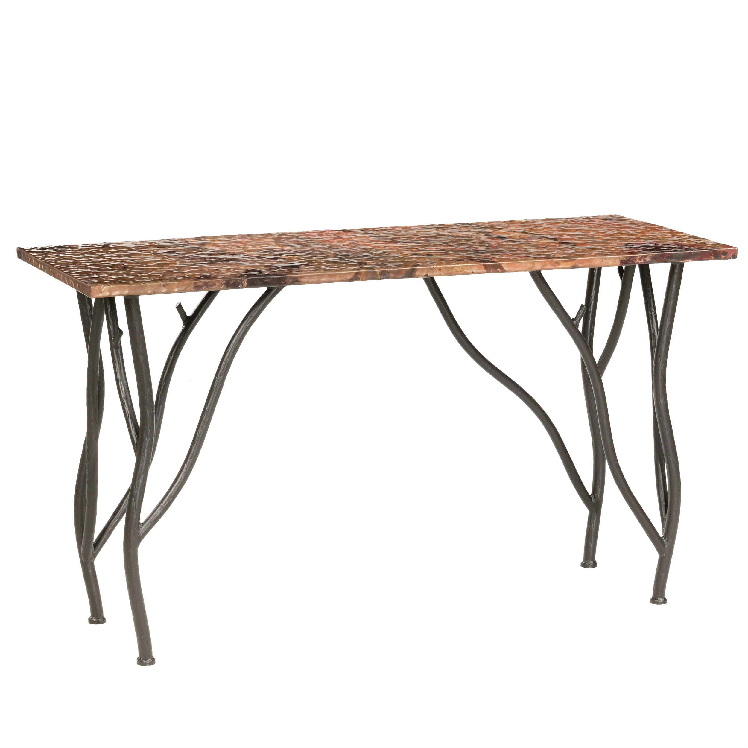 Rustic Wrought Iron Woodland Console Table