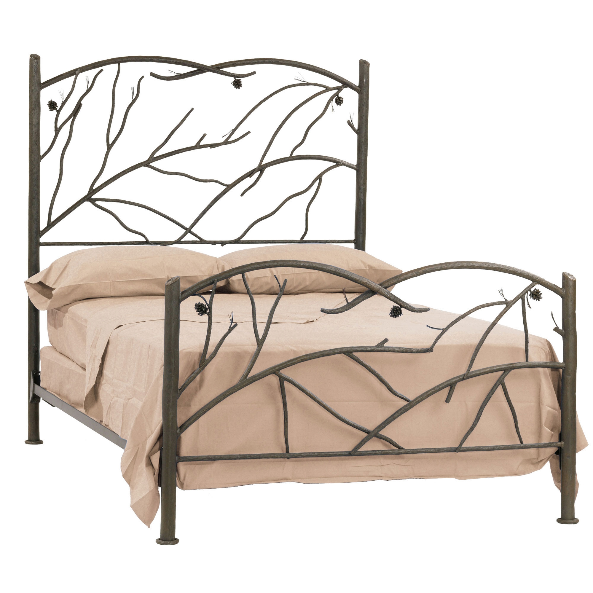 Wrought iron rustic pine bed by stone county ironworks Wrought iron headboard