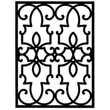 Wrought Iron Rectangular Wall Art Style 199