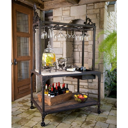 Wrought Iron Tuscan Party Center Brown