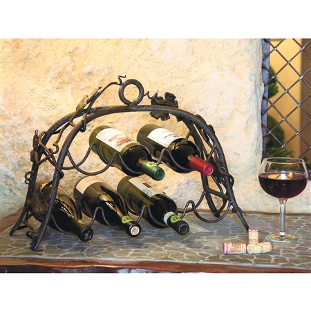 Wrought Iron Wine Rack 7 Bottle
