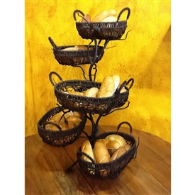Wrought Iron Fruitwood 6 Basket Holder By Bella Toscana