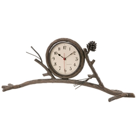 Wrought Iron Rustic Pine Mantle Clock