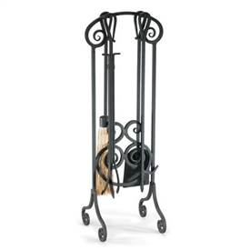 Wrought Iron 5 Piece Antique Scroll Fireplace Tool Set By