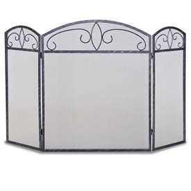 Wrought Iron 3 Panel Forged Crest Fireplace Screen By Napa