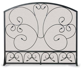 Wrought Iron Single Panel Country Scroll Fireplace Screen