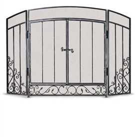Wrought Iron 3 Panel Renaissance Fireplace Screen With