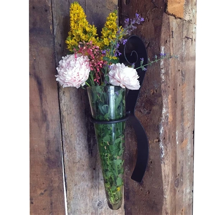 Scroll Wall Flower Iron And Glass Vase 5 Quot X 8 Quot X 22 Quot