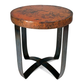 Round Strap End Table With Hammered Copper Top