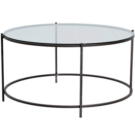 Oculus 35 Quot Round Cocktail Table Iron Base Glass Top