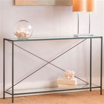 Covina Glass Top Console Table Charleston Forge