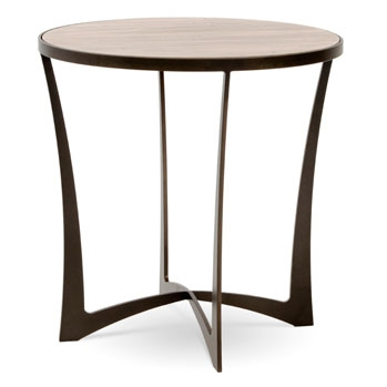 Lotus 24 Quot Round Wrought Iron End Table Wood Amp Glass Top