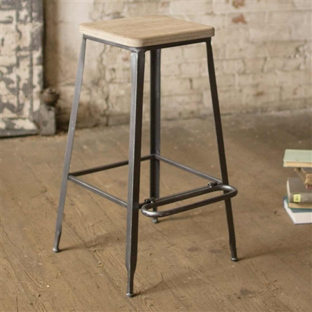 Astounding Farmhouse Bar Stool With Square Wooden Seat Gmtry Best Dining Table And Chair Ideas Images Gmtryco