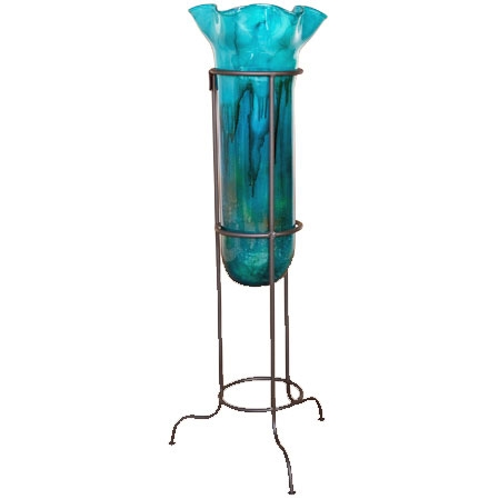 Turquoise Small Floor Vase With Stand