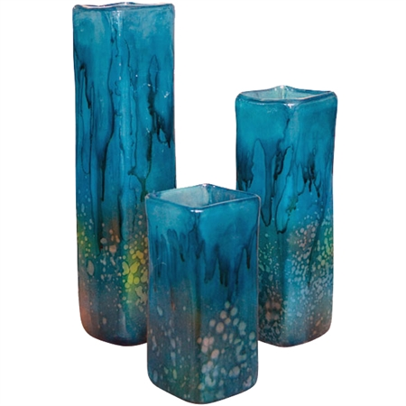 Turquoise Square Glass Vases Set Of 3 Home Decor