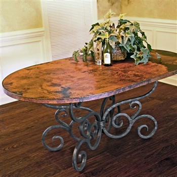 Traditional Wrought Iron Alexander Oval Dining Table