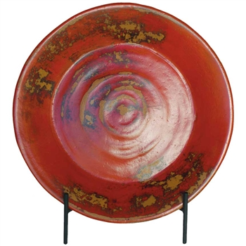 21 Inch Round Ceramic Charger With Iron Stand Mathews