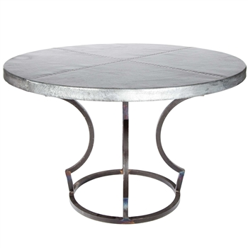 Charles Iron Dining Table With 54 Quot Round Zinc Top