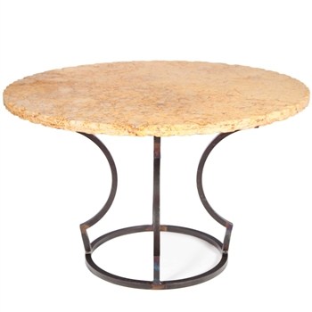 Charles Iron Dining Table With 54 Quot Round Marble Top